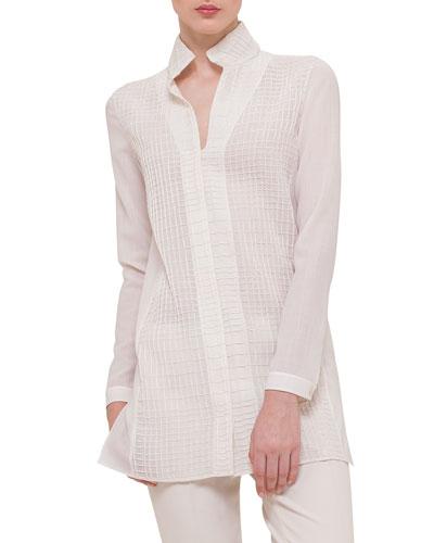 Cross-Stitched Long-Sleeve Tunic, Ivory