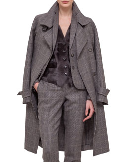 Fine Windowpane Check Cashmere-Blend Trenchcoat