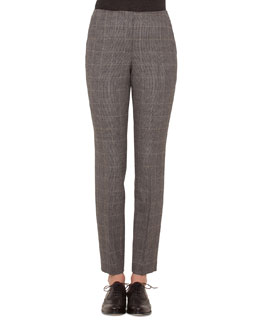 Fine Windowpane Check Cashmere-Blend Pants