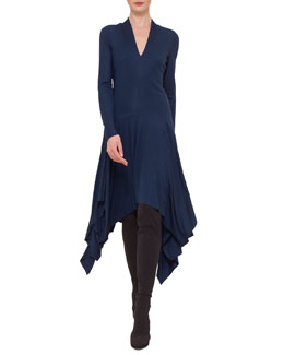 Jersey Drop-Waist Handkerchief Dress