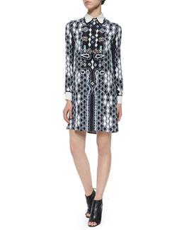 Ace Wavy-Print Collared Dress