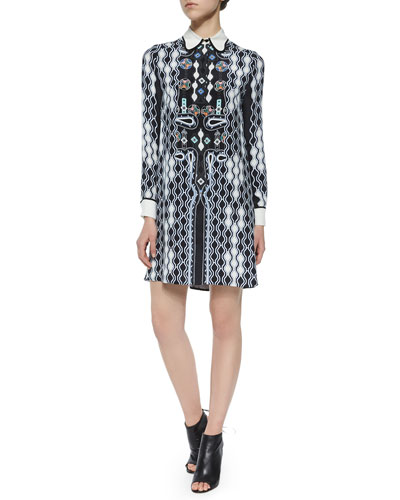 Ace Wavy-Print Collared Dress