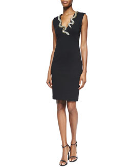 Crystal Snake-Embellished Sheath Dress
