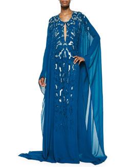 Bejeweled Slit-Keyhole Caftan Gown