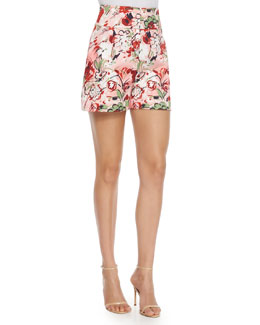 High-Waisted Floral-Print Shorts