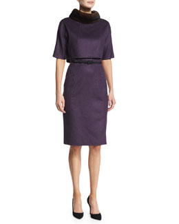 Wool-Blend Dress w/Mink Fur Collar, Wine