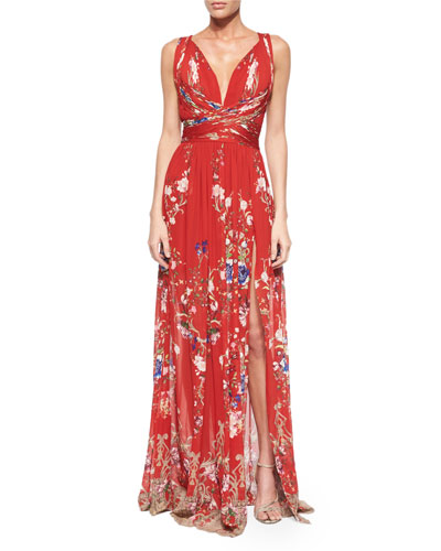 Floral-Print Crisscross Gathered Gown