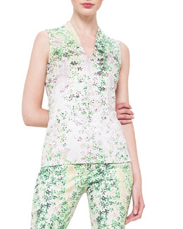 Sleeveless Clover-Print Blouse