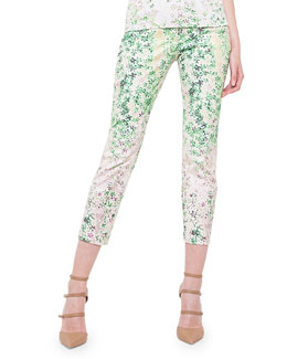Clover-Print Slim-Fit Capri Pants