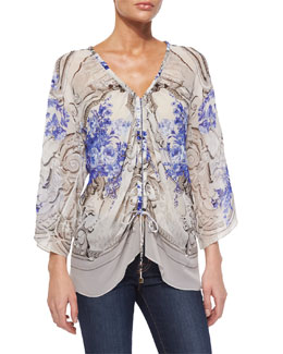 Floral-Print Ruched Blouse