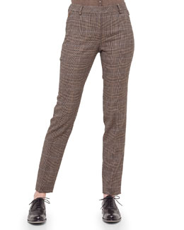 Melvin Glen Plaid Cashmere-Blend Straight-Leg Pants