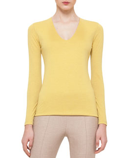 Cashmere-Blend V-Neck Top