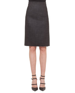 Glen Plaid Zip-Pocket Skirt