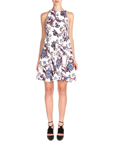 Sleeveless Scroll-Print Flare Dress