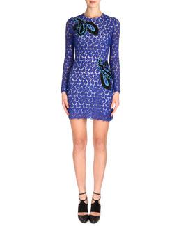 Paisley Applique Long-Sleeve Lace Dress, Blue