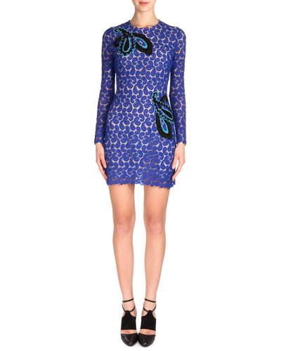 Paisley Applique Long-Sleeve Lace Dress, Blue