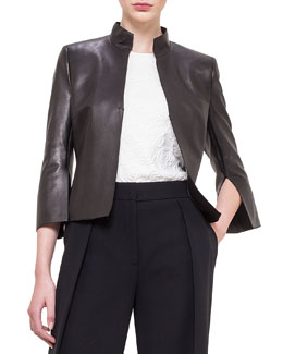 Abstract Applique Back Leather Jacket