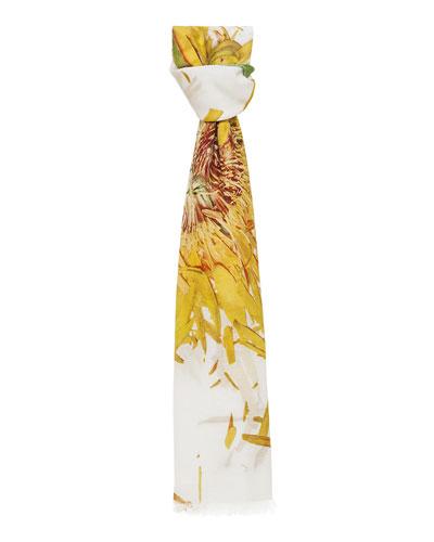 Cashmere-Blend Calendula-Print Scarf