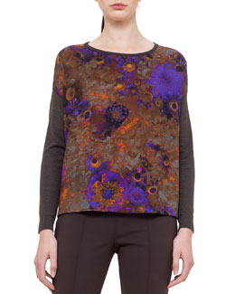 Enchanted Floral-Print Cashmere-Blend Top