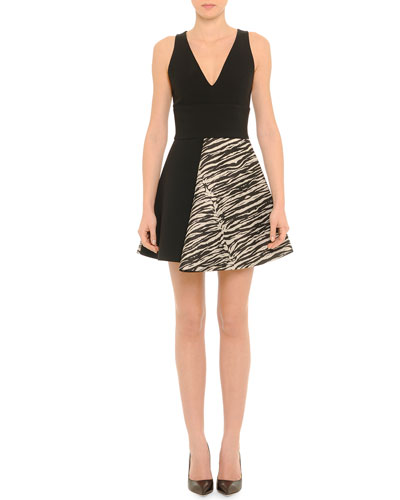 Sleeveless Zebra-Skirt A-Line Dress