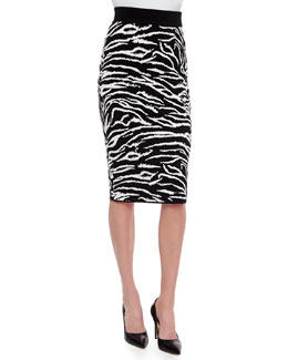 Zebra-Striped Knit Skirt