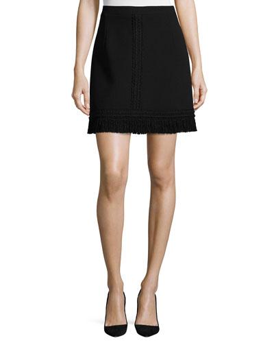 Fringed Wool A-Line Skirt, Black