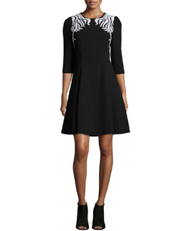 Embroidered Wool-Crepe Fit-and-Flare Dress