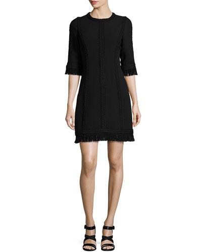Fringed Half-Sleeve Wool Dress, Black