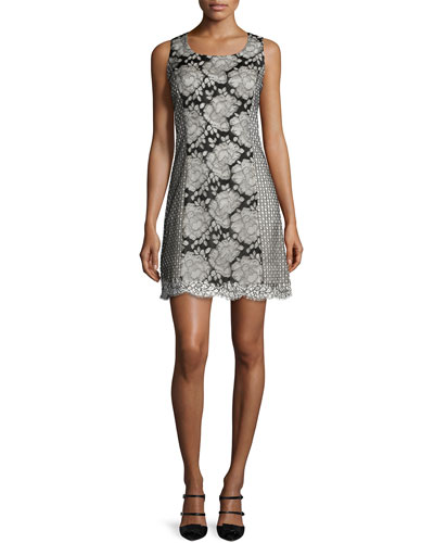 Sleeveless Lace Shift Dress, Black/White