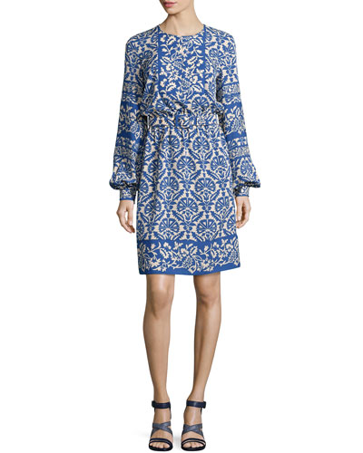 Long-Sleeve Floral-Print Silk Dress, Blue/White