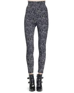 High-Waisted Tweed Skinny Pants