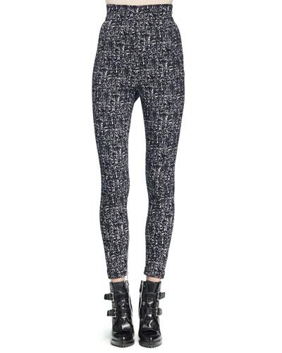 High-Waisted Tweed Skinny Pants
