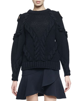 Cutout-Shoulder Cable-Knit Sweater