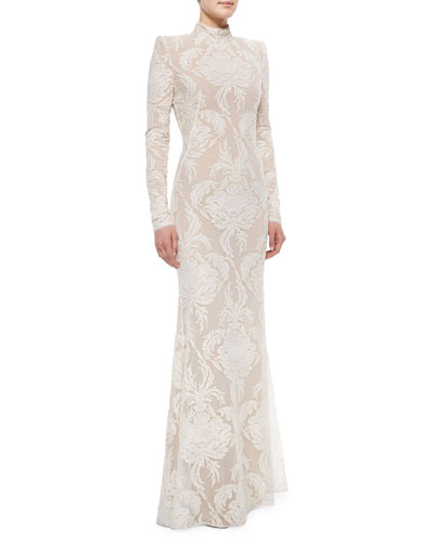 Long-Sleeve Swiss Dot Damask Lace Gown