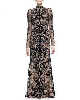 Velvet Damask Lace Gown
