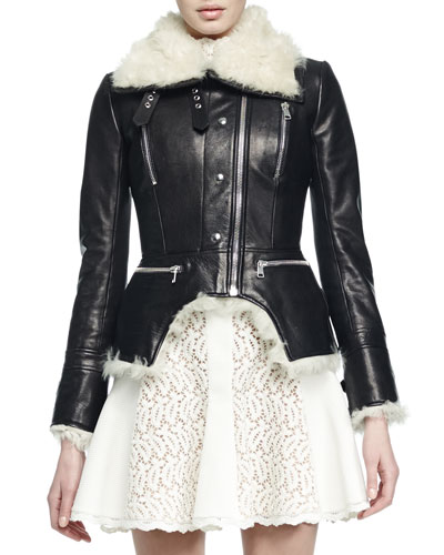 Shearling Fur-Lined Leather Cutaway Moto Jacket