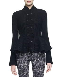 Ribbed Double-Breasted Peplum Jacket