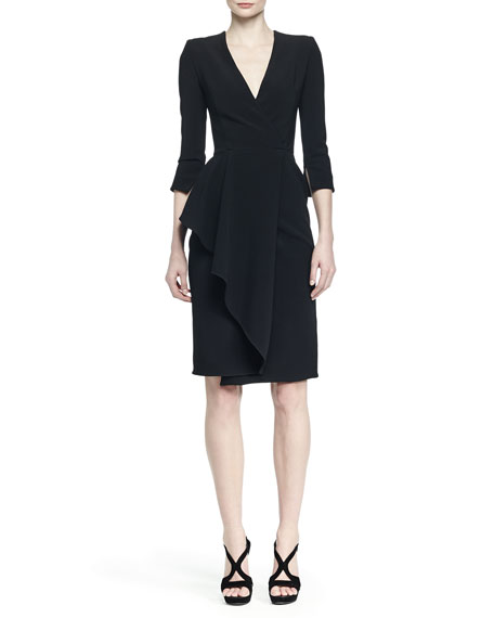 3/4-Sleeve Draped-Ruffle Dress, Black