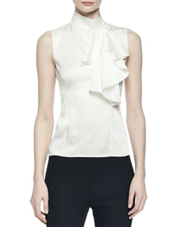 Sleeveless Satin Ruffled Top