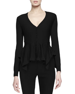Button-Front Peplum Cardigan