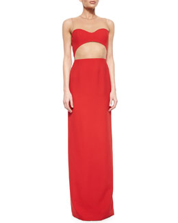 Sheer-Back Cutout Column Gown