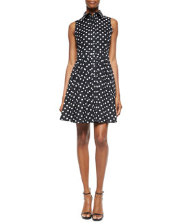 Polka-Dot Pleated Shirtdress