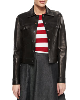 Snap-Front Bonded Leather Jacket