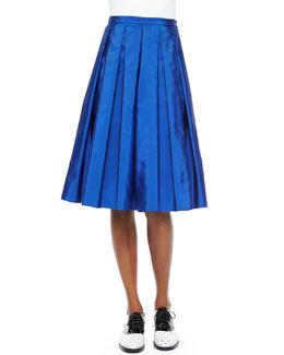 Box-Pleated Faille Midi Skirt