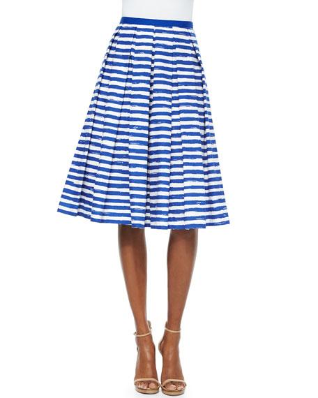 Striped Box-Pleated Midi Skirt
