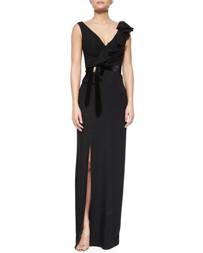 Ruffled Wrap Gown with Bow Detail