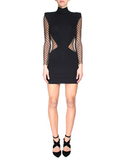 Dotted Sheer-Inset Sheath Dress
