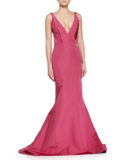 Deep V-Neck Faille Gown