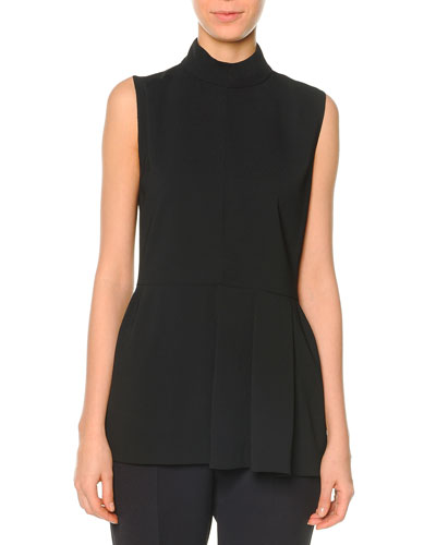 Sleeveless Pleated Peplum Top