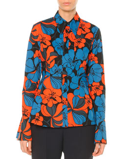 Pimpernel Blossom Shirt with Peplum Hem